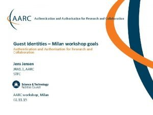 Authentication and Authorisation for Research and Collaboration Guest