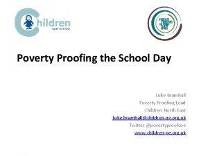 Poverty Proofing the School Day Luke Bramhall Poverty