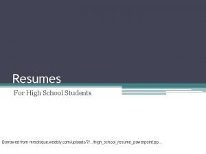 Resumes For High School Students Borrowed from mrsdisque