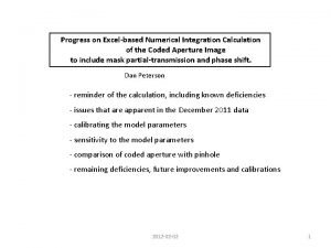 Progress on Excelbased Numerical Integration Calculation of the