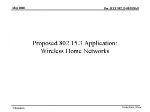 May 2000 Doc IEEE 802 15 000150 r