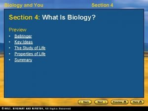 Biology and You Section 4 What Is Biology
