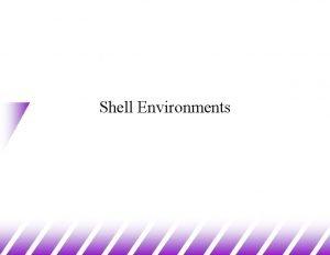 Shell Environments The Shell Environment u Shell environment