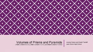 Volumes of Prisms and Pyramids Math Content 6