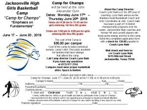Jacksonville High Girls Basketball Camp Camp for Champs