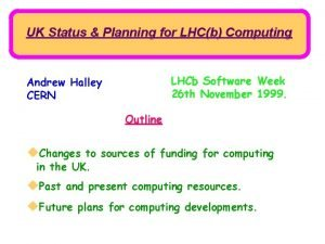 UK Status Planning for LHCb Computing LHCb Software