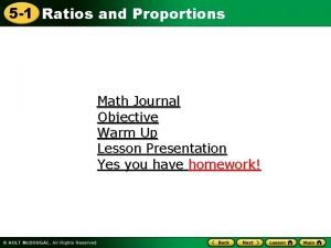 5 1 Ratios and Proportions Math Journal Objective