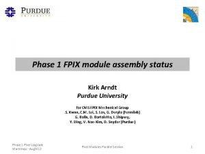 Phase 1 FPIX module assembly status Kirk Arndt
