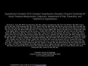 Hypertension Canadas 2016 Canadian Hypertension Education Program Guidelines
