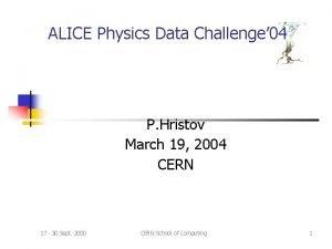 ALICE Physics Data Challenge 04 P Hristov March