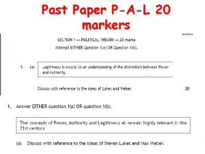 Past Paper PAL 20 markers 20 mark breakdown