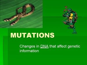 MUTATIONS Changes in DNA that affect genetic information