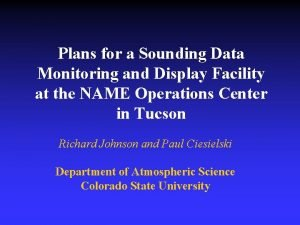Plans for a Sounding Data Monitoring and Display