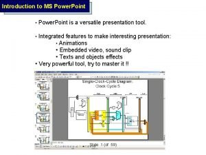 Introduction to MS Power Point Power Point is