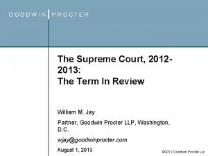 The Supreme Court 20122013 The Term In Review