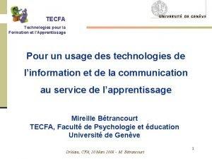 TECFA Technologies pour la Formation et lApprentissage Pour