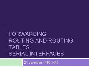 FORWARDING ROUTING AND ROUTING TABLES SERIAL INTERFACES 2
