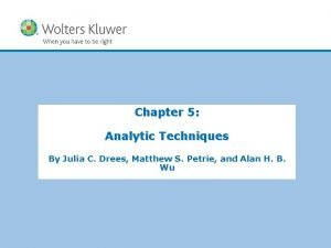 Chapter 5 Analytic Techniques By Julia C Drees