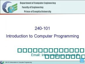 Department of Computer Engineering Faculty of Engineering Prince