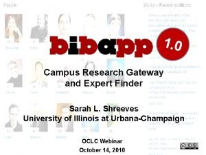 1 0 Campus Research Gateway and Expert Finder