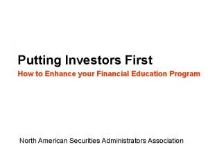 Putting Investors First How to Enhance your Financial
