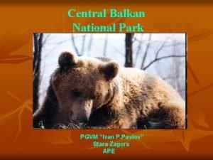 Central Balkan National Park PGVM Ivan P Pavlov