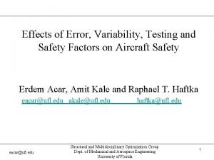 Effects of Error Variability Testing and Safety Factors