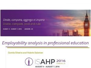 Employability analysis in professional education Camila Silveira and