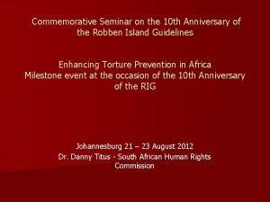 Commemorative Seminar on the 10 th Anniversary of