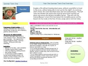 Year One Summer Term One Overview Summer Term