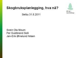 Skogbruksplanlegging hva n Selbu 31 8 2011 Svein