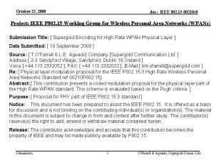 October 23 2000 doc IEEE 802 15 00210