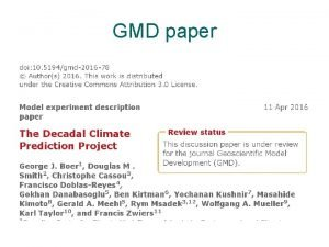 GMD paper GMD paper add DCPP to the