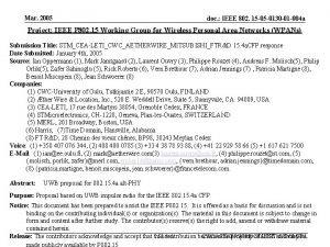 Mar 2005 doc IEEE 802 15 05 0130