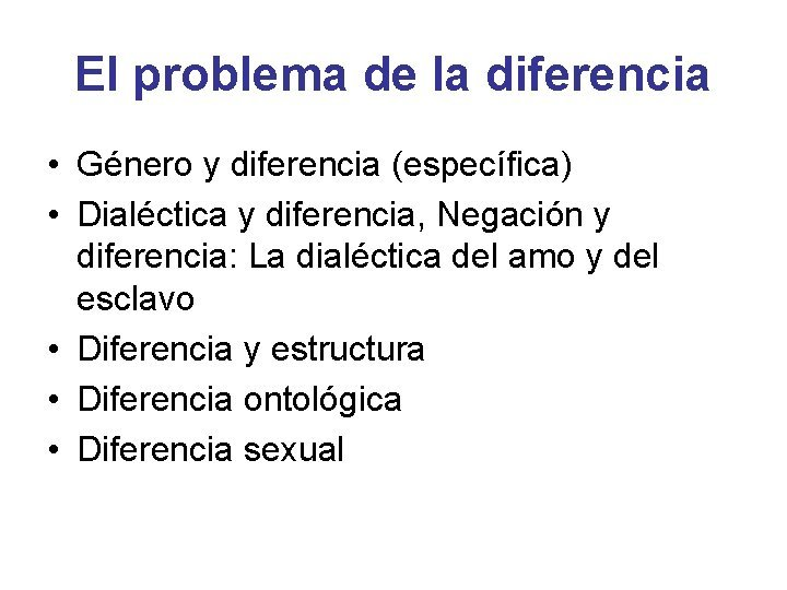 El problema de la diferencia Gnero y diferencia