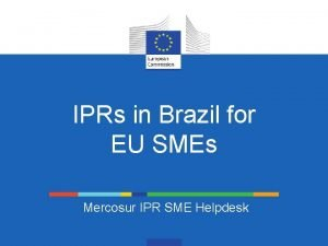 IPRs in Brazil for EU SMEs Mercosur IPR