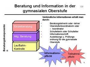 Beratung und Information in der gymnasialen Oberstufe G