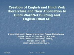 Creation of English and Hindi Verb Hierarchies and