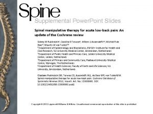 Supplemental Power Point Slides Spinal manipulative therapy for
