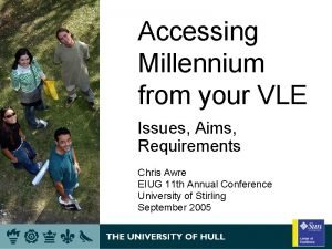 Accessing Millennium from your VLE Issues Aims Requirements