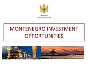 MONTENEGRO INVESTMENT OPPORTUNITIES MONTENEGRO INVESTMENT OPPORTUNITIES GENERAL INFORMATION