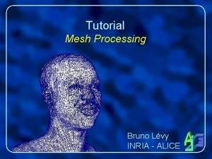Tutorial Mesh Processing Bruno Lvy INRIA ALICE Overview