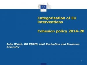 Categorisation of EU interventions Cohesion policy 2014 20