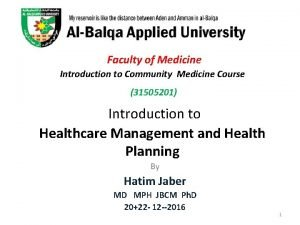Faculty of Medicine Introduction to Community Medicine Course