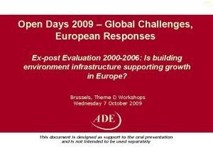 Open Days 2009 Global Challenges European Responses Expost