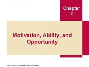 Chapter 2 Motivation Ability and Opportunity Copyright Cengage