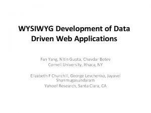 WYSIWYG Development of Data Driven Web Applications Fan