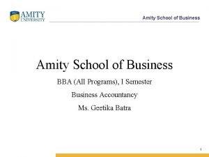 Amity School of Business BBA All Programs I
