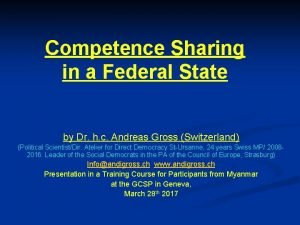 Competence Sharing in a Federal State by Dr