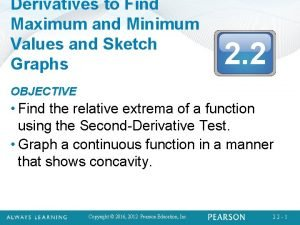 Derivatives to Find Maximum and Minimum Values and